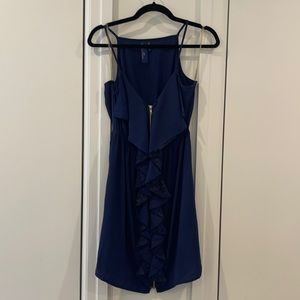 Navy Blue Spaghetti Strap Dress with Lace Ruffle